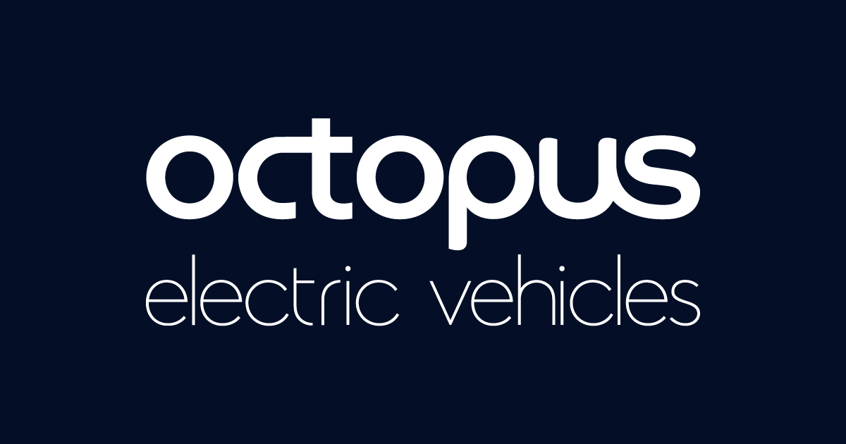 Octopus Electric Vehicles logo in white on a black background